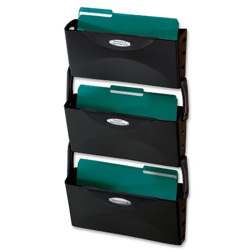 28'' Height x 16'' Width x 3.9'' Depth Black Rubbermaid 18563 Ultra Hot Wall File (3/Set) -BOS-RUB18563
