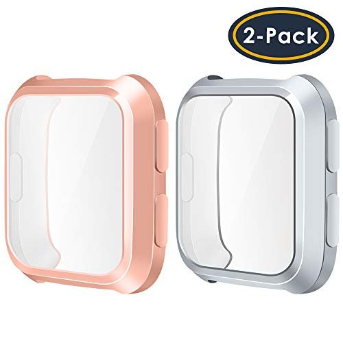 QIBOX Compatible Fitbit Versa Screen Protector Case, Soft TPU Plated Case All-Around Protector Screen Cover Bumper Compatible Fitbit Versa Smart Watch (2-Pack), Rosegold+Silver