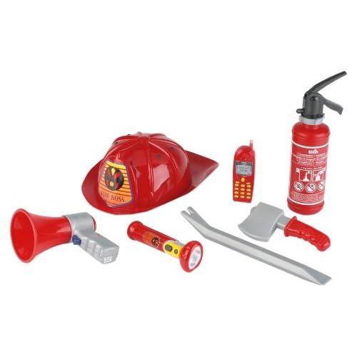 Klein 8967 - Jeu d'imitation - Set de pompier avec casque américain, 7 pièces