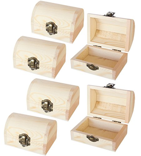 Juvale Unfinished Wood Treasure Chest - 6-Pack Wooden Treasure Boxes Locking Clasp DIY Projects, Home Decor, Props, 2.76 x 3.9 x 2.36 ()