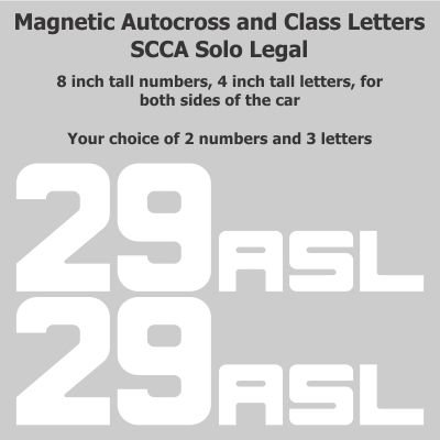 - Track Day - 8 inch Autocross Magnetic Number Package with Class Letters, White, Block Font ()
