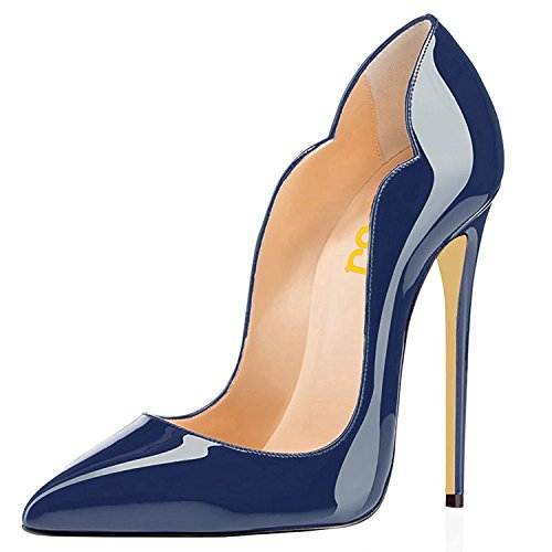 FSJ Women Classic Pointed Toe High Heels Sexy Stiletto Pumps Office Lady Dress Shoes Size 10 Navy-Patent