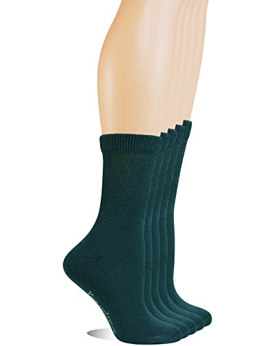 Yomandamor Women's 5 Pairs Non-Binding Cotton Crew Diabetic/Dress Socks with Seamless Toe and Cushion Sole - Comfort Fit Trouser