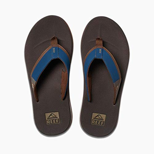 Reef Men's Fanning Low Sandal, Navy/Brown, 10