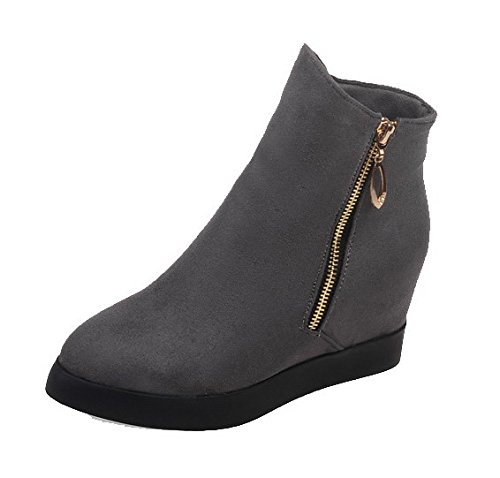 Ferm Suede Bottes Ageemi Gris Chaussures Toe Bas Talons Zipper Pointu Ex8gw8Tq