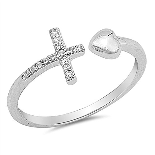 Open Sideways Cross Heart White CZ Ring New .925 Sterling Silver Band Size 8