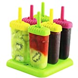 Popsicle Ice Mold Maker Set - 6 Pcs Bpa Free Assorted Colors Ice Pop Mold Holders With Tray - Fun for Kids and Adults - Great for Party Indoor Outdoor use - Chuzy Chef