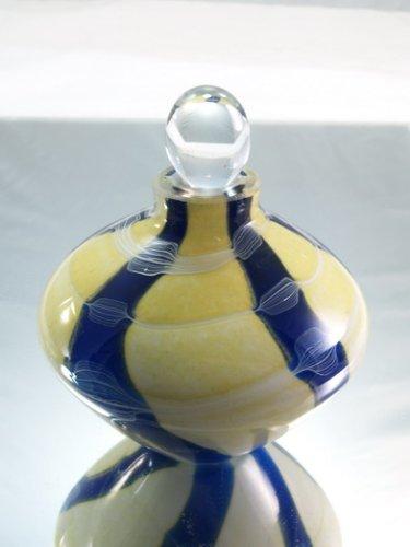 (M Design Art Glass Blue with Yellow Mix Swirls Art Glass Perfume)