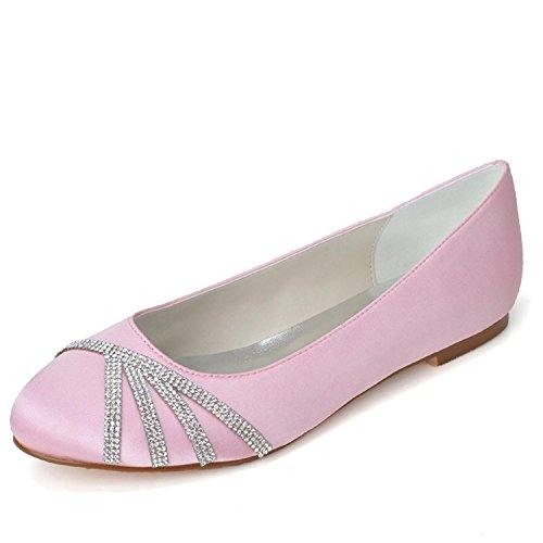 L@YC Zapatos De Mujer Pisos De TacóN Plano De Seda Con Punta Redonda Weddingchampagne / Plateado / Morado / azul / Rojo / Rosa, Blanco Pink