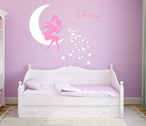 Fairy Wall Decal, I Love You to The Moon and Back, Fairy Wall Sticker for Girl, Kids Bedroom Wall Decals, Nursery Decor(A19) (Soft ()