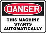 Accuform Signs 7'' X 10'' Black, Red And White 0.040'' Aluminum Equipment Machinery And Operations Safety Sign ''DANGER THIS MACHINE STARTS AUTOMATICALLY'' With Round Corner