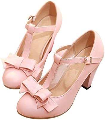 Susanny Womens Chic Sweet Round Toe T-Strap Bows Adorable Buckle High Cone Heel Mary Janes Dress Pumps