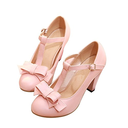 Susanny Women's Chic Sweet Round Toe T-Strap Bows Adorable Buckle High Cone Heel Mary Janes Dress Pink Pumps 4.5 B (M) US]()