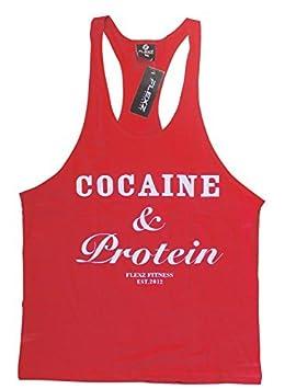 COCAINE & PROTEIN Singlet Stringer, Vest Bodybuilding Racerback Y-Back FlexzFitness