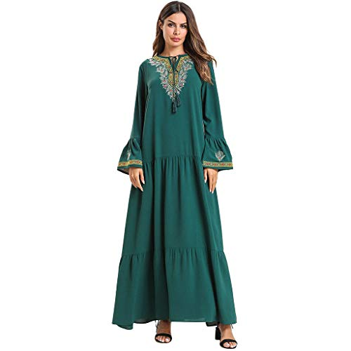 Muslim Dress for Women Dubai Kaftan Women Long Sleeve Arabic Long Dress Embroidery Loose Cardigan Arab Islam Maxi Dress CapsA Green