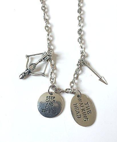 Collier pendentif Daryl inspiré de The Walking Dead. Arbalète, fleche et médaille Kill Zombies