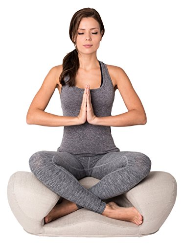Alexia Meditation Seat Ergonimically Correct for The Human Physiology Zen Yoga Ergonomic Chair Foam Cushion Home or Office (Dove Grey Fabric) (Best Office Chair To Sit Cross Legged)