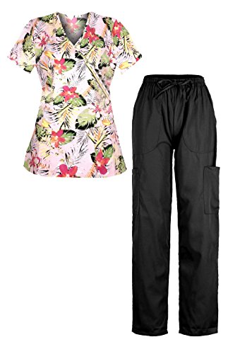 [G Med Women's 2 Pieces Missy Fit Printed Scrub Mock Wrap Top and Pant Set(SET-MED,BLKA9-XL)] (Black Perforated Top Bottom)