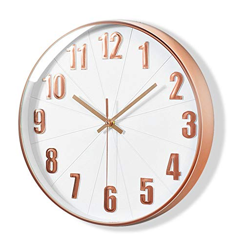Lucor Rose Gold Wall Clock, Silent Non Ticking - 12 Inch Quality Quartz Battery Operated Clock for Living Room Home Office School (Plastic Frame, White Dial, 3D Numbers Display )