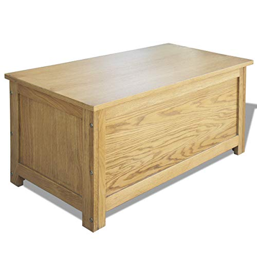 Oak Blanket Chest - vidaXL Solid Oak Storage Chest Rustic Wooden Blanket Pillow Box Trunk Ottoman