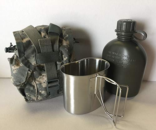G.A.K 90026 G.I. TYPE, U.S Made 1 QT Canteen With New Stainless Steel Cup & G.I. Military ACU MOLLE II Pouch KIT.(OLIVE DRAB)
