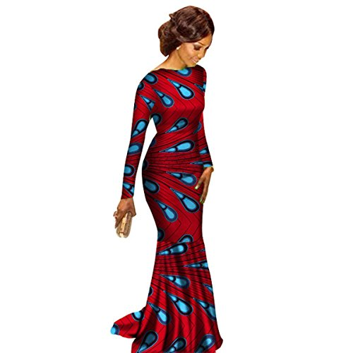 African Clothing Ankara dashiki Kanga Long-Sleeve Dress for women Cotton Wax Print Plus Size Amazon