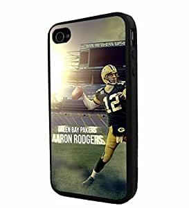 NFL Green Bay Packers Aaron Rodgers, Cool iPhone 4 / 4s Smartphone Case Cover Collector iphone TPU Rubber Case Black