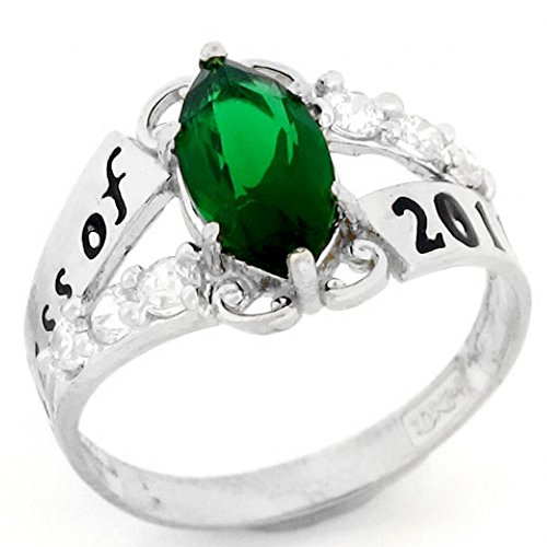 10k White Gold Simulated May Birthstone Class of 2018 Graduation - Emerald Ring Class