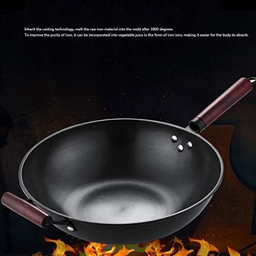 ZLDGYG Cuisine Wok Grand Ménage Pot de fer démodées non couché antiadhésive à fond rond Wok Chef de Fried Wok