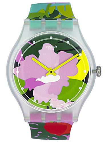 Swatch Originals Tropical Garden Pink Dial Silicone Strap Ladies Watch ()