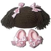 Conjunto muñeca de gorro coletas y zapatos para niña rosa (0 a 3 meses)