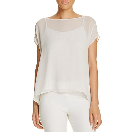 Eileen Fisher Womens Silk Bateau Neck Blouse Ivory (Ivory Silk Blouse)