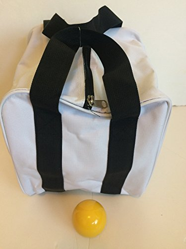 Unique Bocce Accessories Package - Extra Heavy Duty Nylon Bocce Bag (White with Black Handles) and yellow pallina by BuyBocceBalls