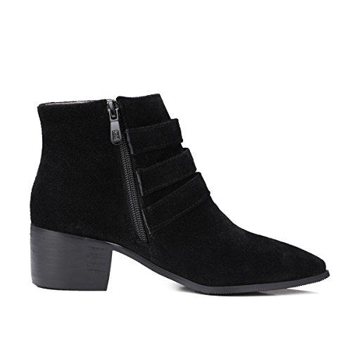 YE Damen Ankle Boots Blockabsatz High Heels Spitze Stiefeletten mit Reißverschluss und Schnallen Elegant Modern Schuhe Schwarz