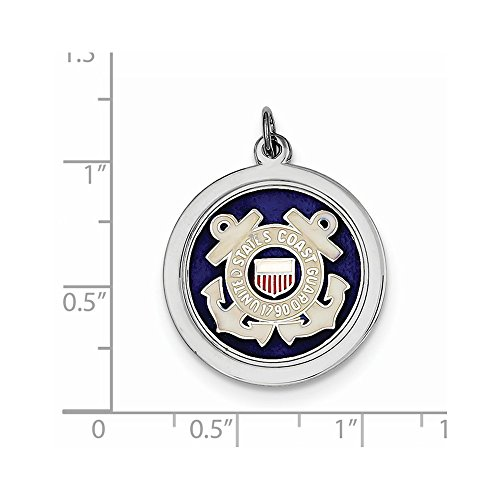 Solid .925 Sterling Silver Rhod-plated US Coast Guard - Guard Us Disc Coast
