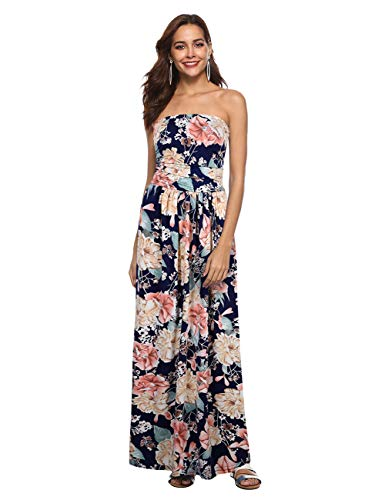Floral Silk Tropical Skirt - Liebeye Women Wrap Chest Casual Floral Dress Empire Waist Strapless Sleeveless Maxi Dress Long Skirt for Party Summer Beach Sapphire L