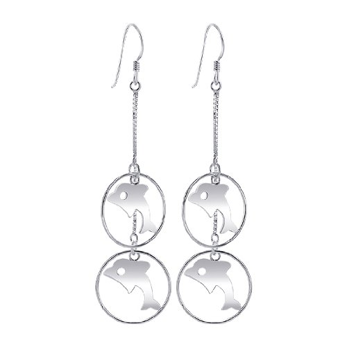 ing Silver 1mm Box Chain with 19mm Hoop Dolphin French wire Dangle Earrings (Dolphin French Wire Earrings)