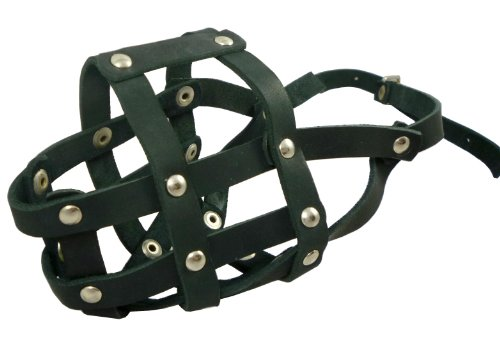 Genuine Leather Dog Basket Muzzle #105 Black – Pit Bull, AmStaff (Circumference 12, Snout Length 3.5) by Dogs My Love