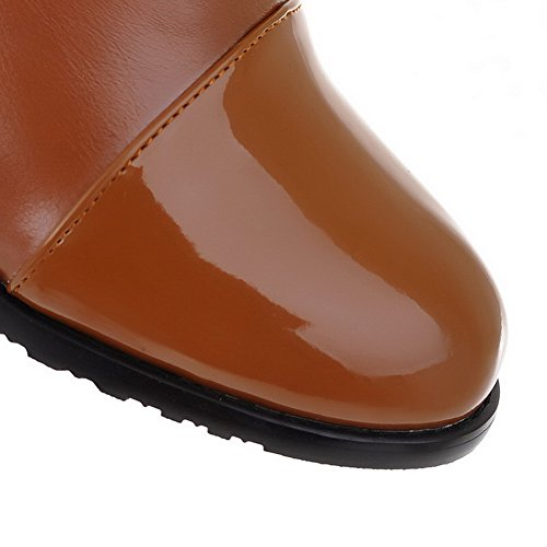 AllhqFashion Womens Pull On Low-Heels PU Solid Low-Top Boots Brown aGYN5z