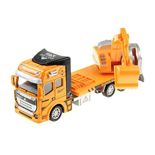 Liying 1:48 Diecast Modell LKW Spielzeug Baufahrzeug Pull-back and Go Friction Kunststoff Auto Spielzeugauto Geschenk für Kinder Junge Bagger Gelb