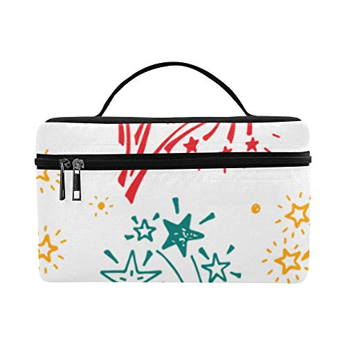 (Lunch Box Roomy Cosmetic Bags Fireworks Colorful Design Waterproof Lunch Bag Travel Multifunction Case Train For Women Case)