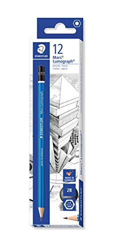Staedtler Mars Lumograph 2B Graphite Art Drawing Pencil, Medium Soft, Break-Resistant Bonded Lead, 12 Pack, 100-2B (100-2B VE)