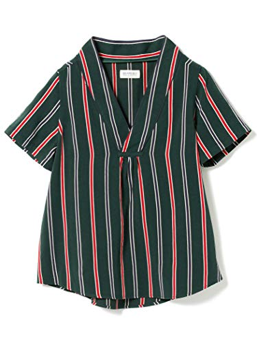 (빔스 보이)BEAMS BOY/반소매 셔츠/파자마 스트라이프 piping V넥 셔츠 레이디스