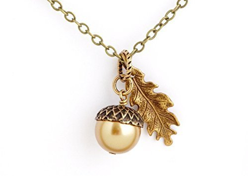 Gold Colored Acorn Necklace With Etched Leaf Charm on 20 Inch Brass Chain