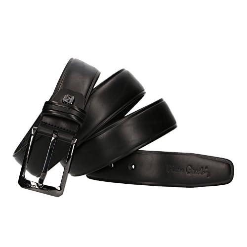 Cinturón hombre PIERRE CARDIN negro cuero liso sin pespuntes MADE IN ITALY  85% OFF 73993bd0ba85