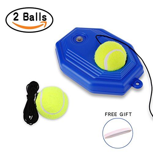 JUOIFIP Tennis Trainer Rebound Ball Set Self-study Practice Training Tool Sport Exercise Partner Baseboard for Kids and Beginner with 2 Balls - Portable Tennis Courts