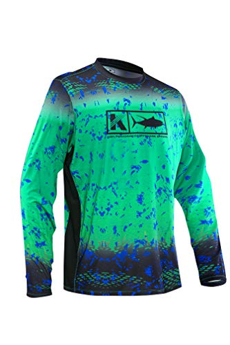 8defd536921 Koofin Men's Performance Vented Fishing Shirt Long Sleeve Shirt Mesh Side  Vents UPF 50 Fade Pattern Green