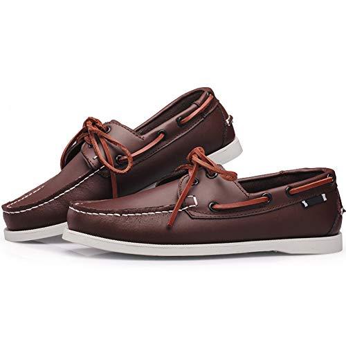 Hombre Barco Wealsex Casuales para 45 Zapatos Classic Marrón del Zapatos 38 Encaje De Oscuro Tamaño rwtqX0t