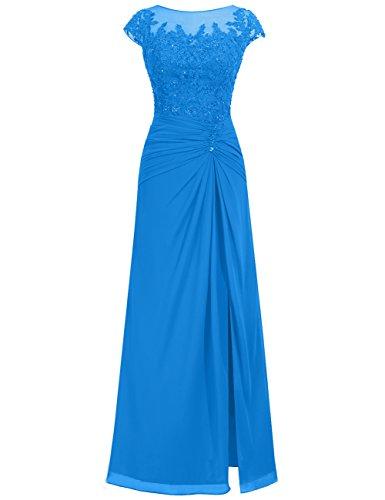 Spitze Abendkleider Chiffon Damen Ballkleider Blau Festkleider Hochzeitskleider Lang qAqw78a