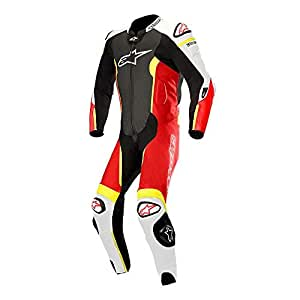 Alpinestars Mono para moto de piel 3150118Missile Air Bag 1236, negro, blanco, rojo, amarillo, talla 46